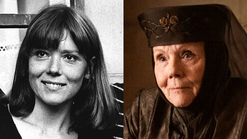 Young Diana Rigg and Diana Rigg Portraying Olenna Tyrell